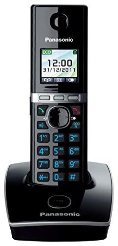 Panasonic KX-TG8051JTB Telefono Cordless Digitale (DECT) Singolo, Ampio Schermo LCD a Colori, Schermo e Tasti Retroilluminati, Suoneria Polifonica, Nero