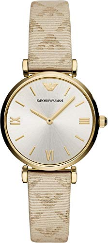 Emporio Armani AR11127 Women's Quartz Stainless Steel and Leather Casual Watch, Color:Beige