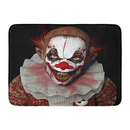 Soefipok Fußmatten Badteppiche Outdoor/Indoor Fußmatte Scary Scarier Clown Sharp Spitzen Zähnen grell Dich an Horror Evil Creepy Badezimmer Dekor Teppich Badematte