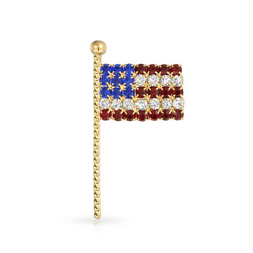 Bling Jewelry Patriotic American Flag Pin Spilla