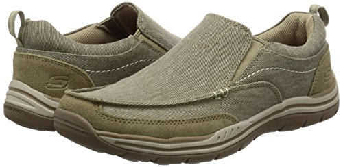 Skechers Mens Expected Tomen Slip On Canvas Loafer Moccasin Shoes Khaki