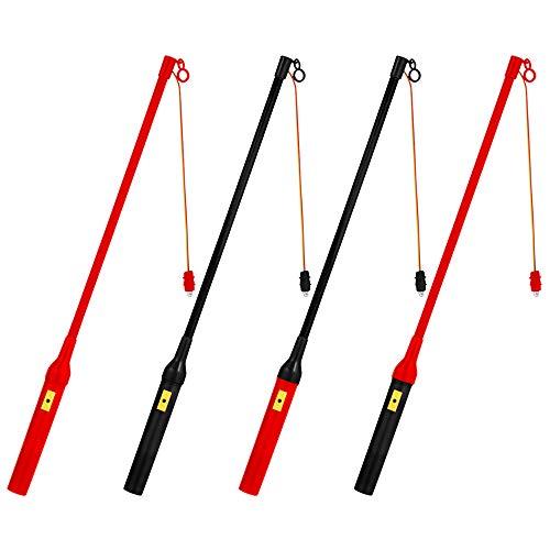 EasyAcc 4 x Eletkrischer Laternenstab mit LED ca.50cm für Kindergeburtstage Parties Laternenumzüge St. Martin und mehr - 4er-Pack Schwarz/Rot