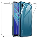 YOOWEI Coque Huawei Y6 2019 Transparente + [2 Pack Verre trempé écran Protecteur], Ultra Fin Transparente Silicone Gel TPU Etui de Protection Housse Antichoc pour Huawei Y6 2019/ Y6 Pro 2019
