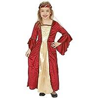 Andrea-Moden Robe de châtelaine avec Bandeau Costume Médiéval Pour Enfant Rouge Doré