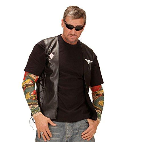 Imagen de chaleco motero de piel sintética, diseño de calavera, ideal para motocicleta o bicicleta como accesorio para disfraz alternativa