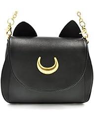 Musuntas Cosplay Les oreilles de chat sac d'épaule sac à main d'épaule de cuir PU avec des oreilles de chat (noir)