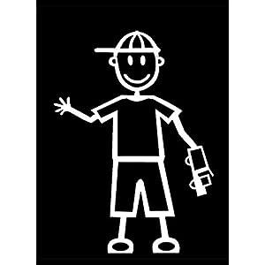 My Stick Figure Family Familie Autoaufkleber Aufkleber Sticker Decal Kleine Jungen mit Auto SB1