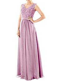 MACloth Women Two Tone V Neck Lace Long Bridesmaid Dress Evening Formal Gown (EU56, Rojo)