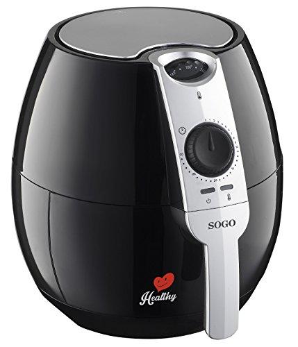 Sogo SS-10450 Healthy Freidora de aire caliente, 1500 W, 2.5 litros, Plástico, Negro y Plata