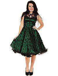 Voodoo Vixen Vintage Retro 50s Party Damen Kleid Satinkleid mit Blumen-Spitze Smaragdgrün - Smaragd Vintage Ball Dress