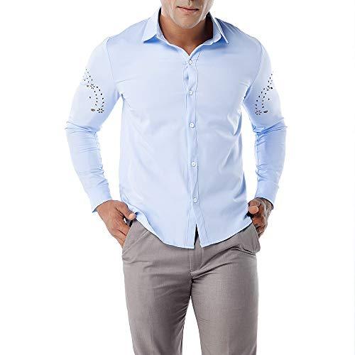 FRAUIT Hemd Herren Wunderschön Einfarbig Atmungsaktiv Herbst Männer Shirt Top Bluse T-Shirt Freizeit Business Party Stretch Atmungsaktiv Bequem Top 100% Baumwolle S-XXL