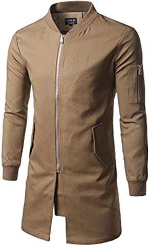 Whatlees Mens Boys Extra Long Bomber Jacket Neck Zipper Up Slim Fit Windbreaker Jacket Coat With Pockets B361-Khaki-S
