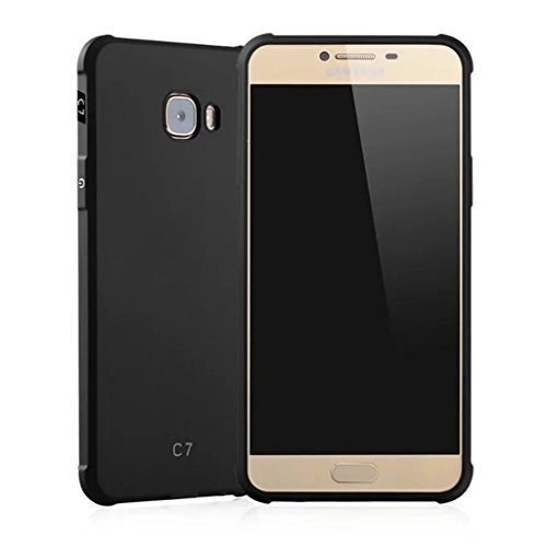 Schutzhülle Samsung Galaxy C7(C7000) Hülle, Business Serie Stoßfest Ultra Dünn Weich Silikon Rückseite Fall für Samsung Galaxy C7(C7000) (Schwarz) - C7000 Serie