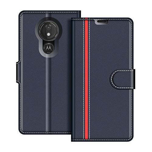 COODIO Handyhülle für Motorola Moto G7 Power Handy Hülle, Motorola Moto G7 Power Hülle Leder Handytasche für Motorola Moto G7 Power Klapphülle Tasche, Dunkel Blau/Rot