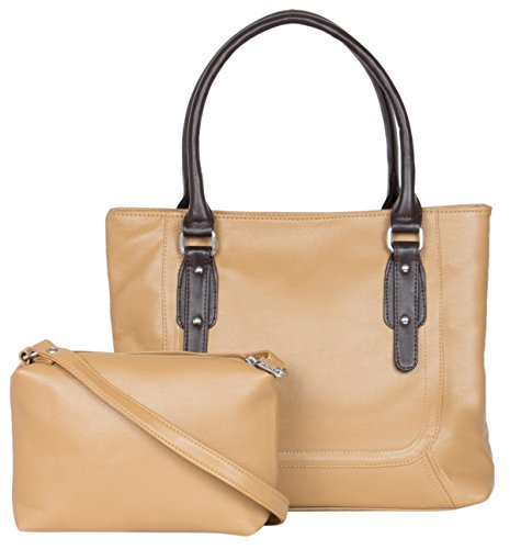 Adisa Women\'s Handbag With Sling Bag (Beige,Ad1015-Bei)
