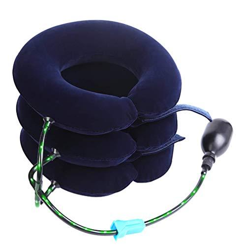 Aufblasbare Nackenstütze (Nacken Cervical Traction PRETTY SEE Leistungsstarke Halswirbel Massagegerät Schmerzlinderung für die Nackenschmerzen, Schulter Schmerzen, 3 Schichten, blau)