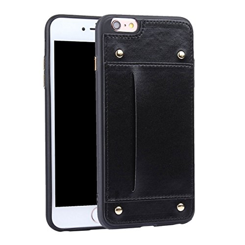 "MOONCASE iPhone 6/iPhone 6s Coque, Durable Prime PU Cuir avec Cartes Holster Housse Slim TPU Anti-dérapante Shock Absorption Protection Etui Case pour iPhone 6/iPhone 6s 4.7"" Noir Noir"