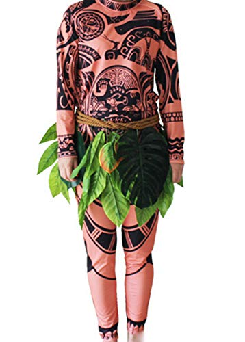 High Elf Kostüm - Herren Moana Maui Tattoo T Shirt / Hosen mit Blattern Rock Halloween Adult Cosplay Kostüme (11-12 Jahre, for Kids)