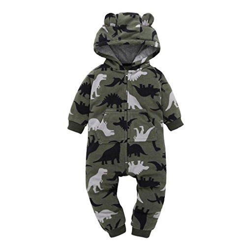 Longra Baby Jungen Mädchen Strampler Herbst Langarm Camouflage Dicker-Druck Jumpsuit Kapuzenpullover Overall Baby Unisex Kleidung(0-24Monate) (105CM 24Monate, Camouflage)