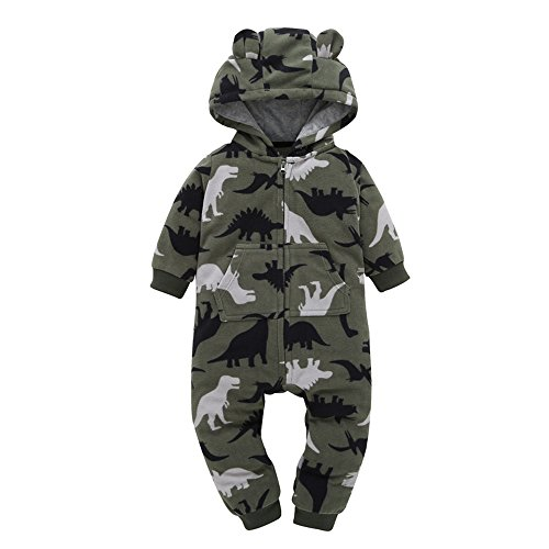 Newborn Baby Boy Winter Warm Romper, Cute Parttern Print Thicker Hooded Jumpsuit Outfits by Kolylong