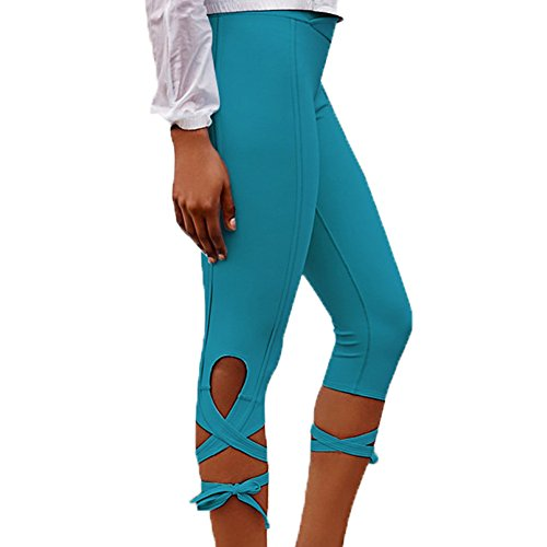 WintCO Pantalons Sportif pour Femmes Pantalons de Danse de Yoga avec Bandages Coulants Gymnastique Confortable Multicolor Cyan