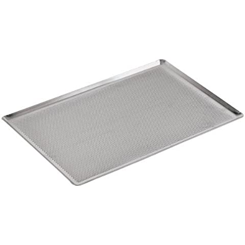 Paderno World Cuisine 15 3/4 Inch by 11 7/8 Inch Perforated Aluminum Baking Sheet with 45 Degree Angled Sides by Paderno World Cuisine