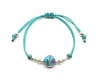 Bracelet en argent et crystal artisanat turquoise, boule de 10 mm