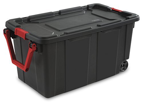 Sterilite 14699002 40 Gallon/ 151 Liter Wheeled Industrial Tote, Black Lid & Base w/ Racer Red Handle & Latches, by STERILITE (Tote Wheeled)
