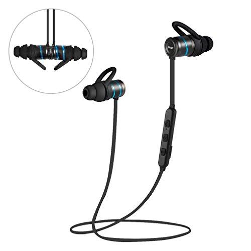 Auriculares Bluetooth Aptx Stereo Audio Pure Auriculares Sport Magnético Metálico con Micrófono Ruido de Cancelación CSR8645 (X8, Azul)