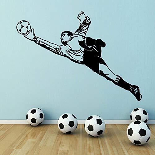 Football Mural Autocollant Gardien de But en Vinyle Applique Enfant et garçon Chambre activité Chambre Sticker Mural Peinture décorative 80 * 59 cm