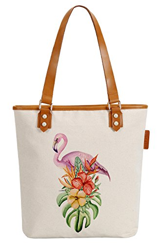 Handle Bag Top (So'each Women's Flamingos Flowers Canvas Tote Pearly Top Handle Shoulder Bag)