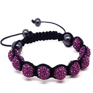 nambeads Bracelet Shamballa Avec 9Perles Ornées de Cristal Swarovski Violet foncé boule à facettes perles en cristaux et 4perles hématite polie. magnifique Bracelet fait main de qualité supérieure. Vérifier Notre Gamme De Couleurs.
