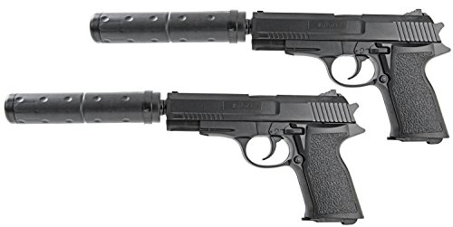 NICK and BEN 2 Stück Doppelpack Softair-Pistole ca. 18 cm lang max. 0,08 Joule Schalldämpfer Kinder-Spielzeug Kugelpistole frei ab 3 Jahren schwarz