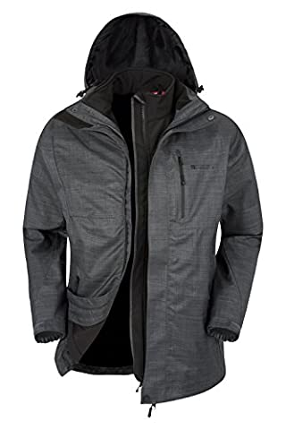 Mountain Warehouse Bracken Melange 3 in 1 Men's Jacket - Warm, Lightweight, Taped Seams, Waterproof & Breathable IsoDry Fabric with Double Storm Flap &, Adjustable Hood Grey Small