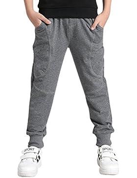 DianShao Niños Pantalones De Chándal De Jogging Deporte Entrenamiento Cintura Elástico