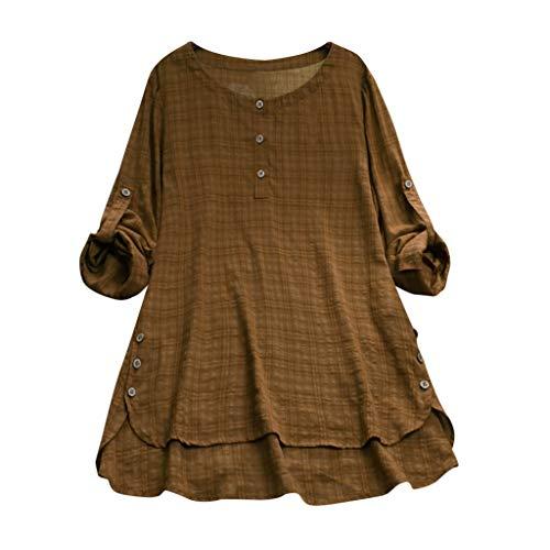 Likecrazy Bluse Damen Langarmshirt Elegant Lose Leinenbluse Casual Shirt Bluse Tops Womens Plus Size Plaid Button Oberteile Tunika -