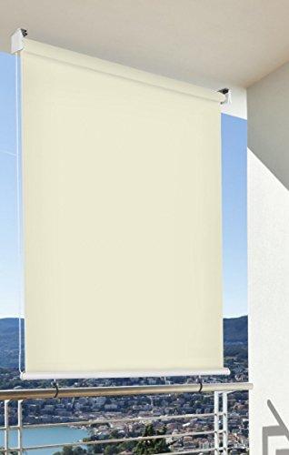 fenster markise Balkon-Sichtschutz Balkon-Markise Balkon-Windschutz Rollo Creme vertikal Polyester 100 x 230 cm