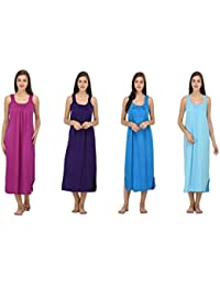 Ishita Fashions Cotton Gown Slip - Cotton Nighty - 4 PCs - Purple, Violet, Sky Blue and Turquoise