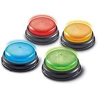 Learning Resources- Botones de Respuesta con luz y Sonido, Set de 4, Color (LER3776)