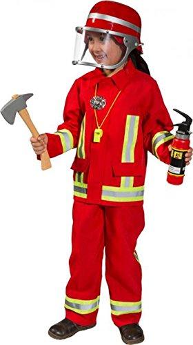 feuerwehrkostuem kinder Panelize® Feuerwehr Feuerwehranzug rot + Feuerwehrelm + 8 teiliges Zubehör (104)