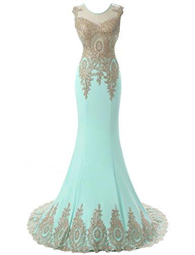 Erosebridal Damen HochzeitsgästeKleid Sexy Meerjungfrau Ballkleid Minze DE36