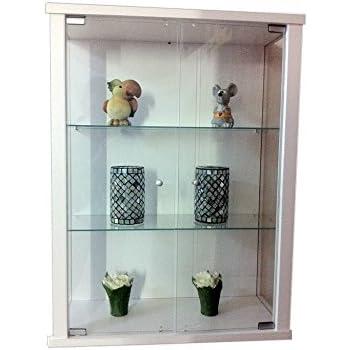 vitrine murale 80x60x25 cm collection miniature blanc avec 2 tag res en verre. Black Bedroom Furniture Sets. Home Design Ideas