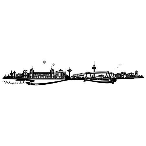 """Preisvergleich Produktbild Wandkings Wandtattoo """"Skyline Wuppertal (mit Sehenswürdigkeiten und Wahrzeichen der Stadt)"""" 115 x 20 cm schwarz - erhältlich in 33 Farben"""