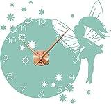 GRAZDesign 800394_KF_055 Wandtattoo Uhr mit Uhrwerk Wanduhr für Kinderzimmer Fee Elfe Sterne Zahlen (60x57cm // 055 Mint // Uhrwerk Kupfer)