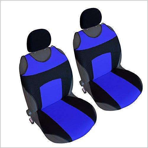 CSC302 - Couvre Siège pour Voiture T Shirt, housse de siège auto Protecteur de siège, coussin cover auto, Retour Coussin Noir/Bleu (1 paire)