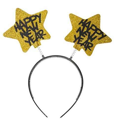 Wabbles Silvester metallic Gold Happy New Year Haarreif Silvester Party Feier Accessoires