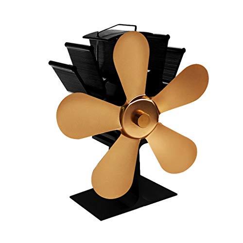 B Blesiya 5 Flügel Stromloser Ofenventilator Ventilator für Holzöfen Kamin Öfen, ohne Strom - Gold