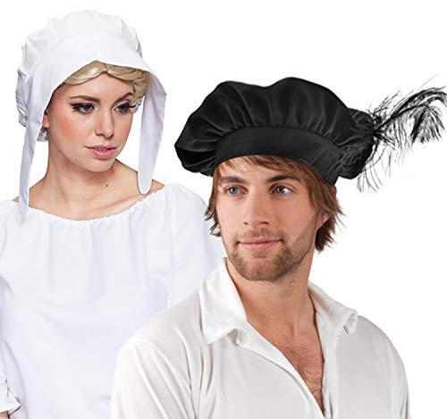 Und Kostüm Mode - Unbekannt Mittelalter Mützen Haube und Barett Mittelalter-Mode 2er-Set Einheitsgröße Kostüm-Zubehör