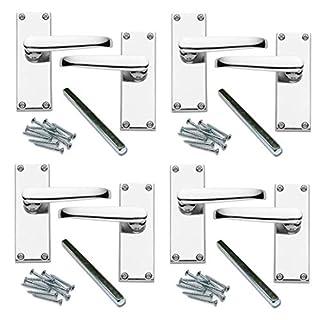 4 Pairs of Flat Lever Latch Door Handles [by XFORT] Door Handle Set for Wooden/Timber Doors, Polished Chrome Door Handles Ideal for All Types of Internal Doors. [Polished Chrome, 4 Pairs].