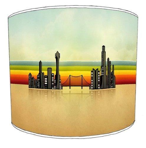 Premier Lampenschirme - Durchmesser 20cm Tabelle Retro Streifen-Stadt-abstrakten Lampenschirme
